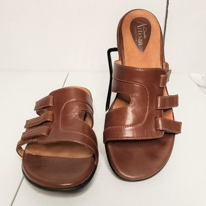 Clarks Artisan Strap Leather Wedge Slide Sandals
